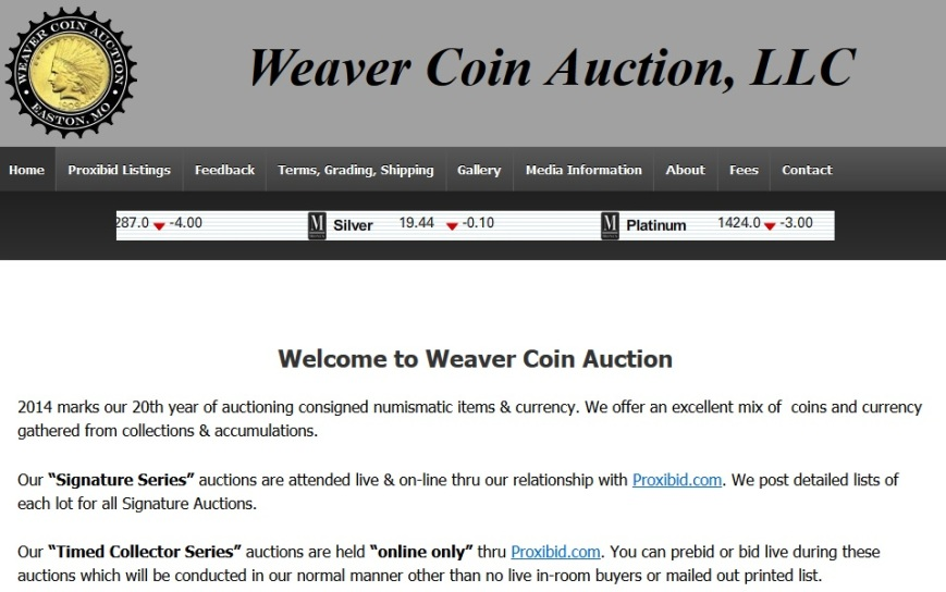 Weaver Coin Auction