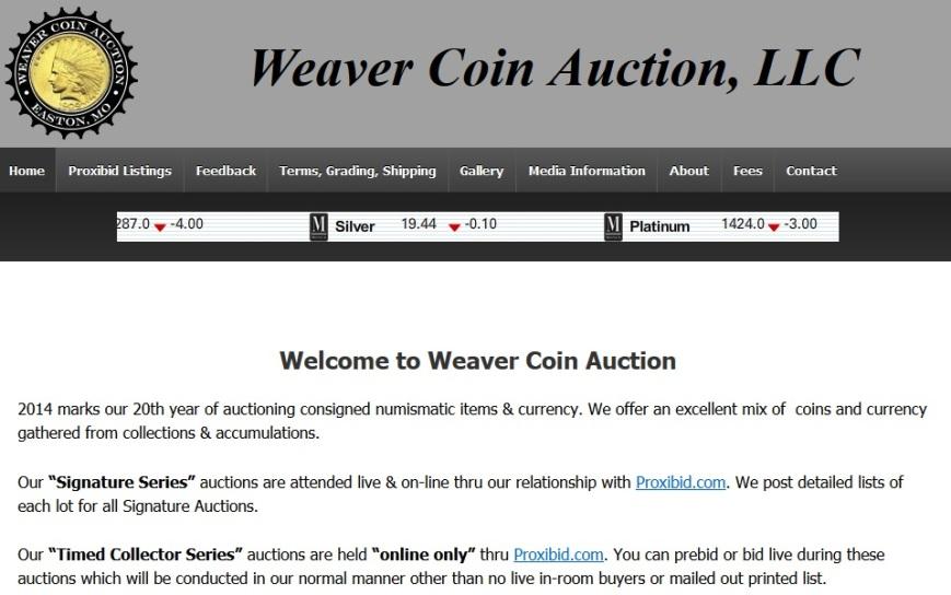 Weaver Coin Auction